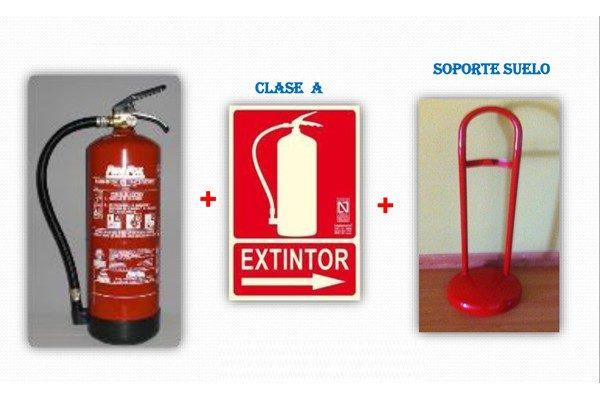 Extintor polvo 6kg Senal soporte 600x400 - Extintor polvo 6kg + Señal + Soporte