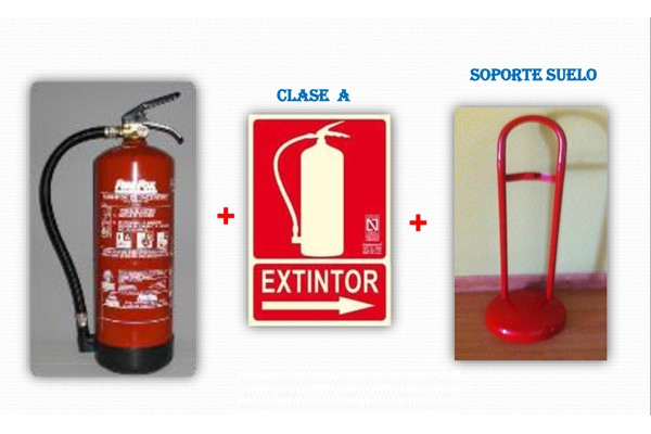 Extintor polvo 6kg Senal soporte - Extintor polvo 6kg + Señal + Soporte