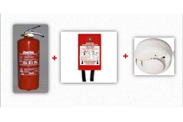 Kit casa trio 600x400 - Extintores de 1 y 3 kg + Manta Ignífuga + Detector Autónomo