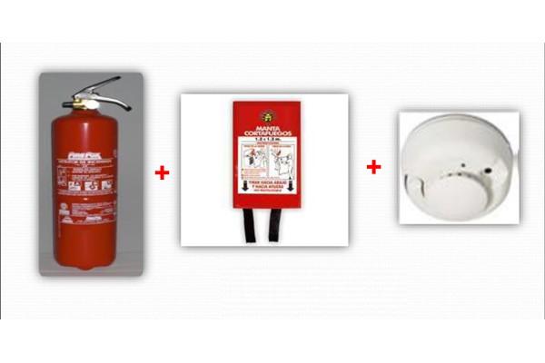 Kit casa trio - Extintores de 1 y 3 kg + Manta Ignífuga + Detector Autónomo