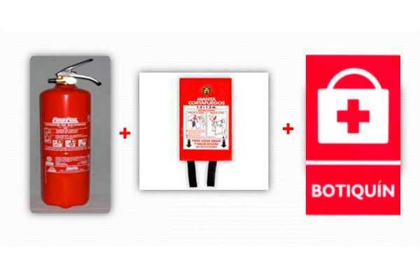extintor manta botiquin 600x400 - Extintores de 1 y 3 kg + Manta Ignífuga + Botiquín de Primeros Auxilios